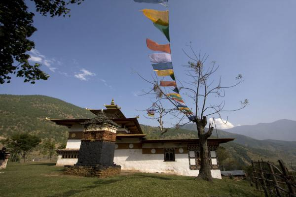 Picture of Chimi Lhakhang (Bhutan): Chimi Lhakhang on top of a hill in Lobesa valley in central Bhutan