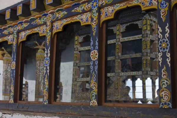 Picture of Chimi Lhakhang (Bhutan): Windowpane at Chimi Lhakhang