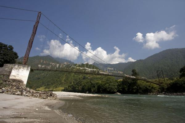 Suspension bridge over Mo Chhu | Khamsum Yuelley Namgyal Chorten | Bhutan