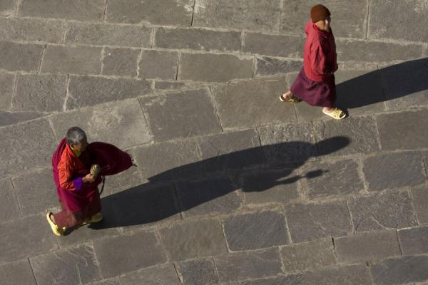Picture of Looking down on worshippers walking around the National Memorial Chorten - Bhutan - Asia