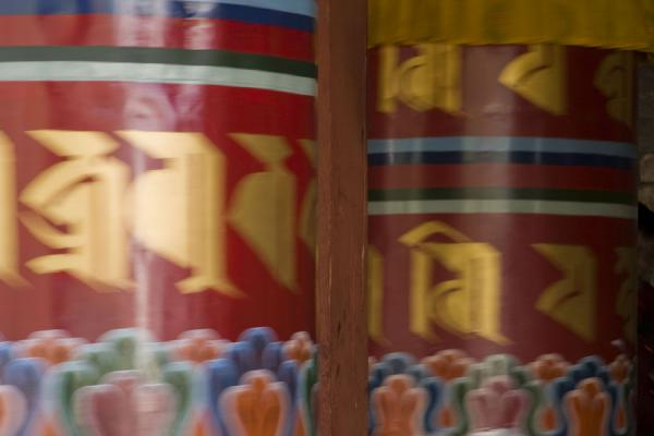 Foto van Giant prayer wheels at the National Memorial Chorten - Bhutan - Azië