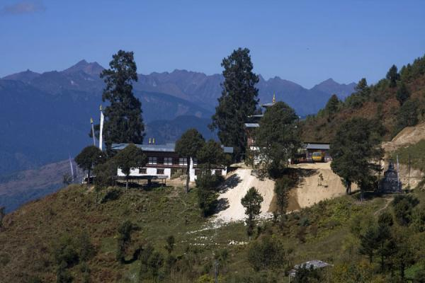 Picture of Petsheling monastery (Bhutan): Lovely location of Petsheling monastery amidst trees and mountains