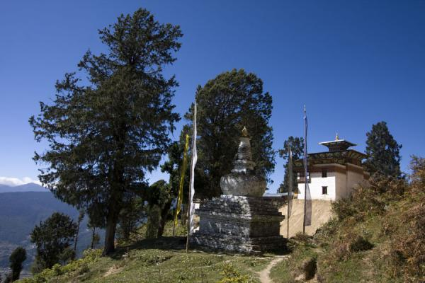 Picture of Petsheling monastery (Bhutan): Trees, monastery and chorten at Petsheling monastery