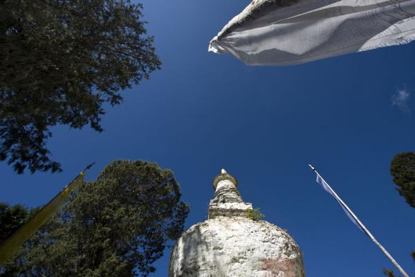 Picture of Petsheling monastery (Bhutan): Looking up prayer flag poles and chorten at Petsheling monastery