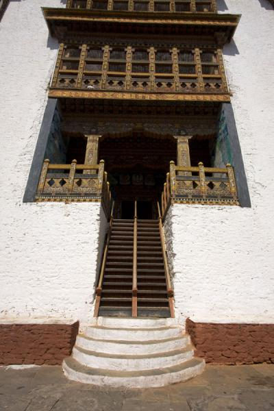 Stairs leading up a building inside Punakha Dzong | Punakha Dzong | Bhutan
