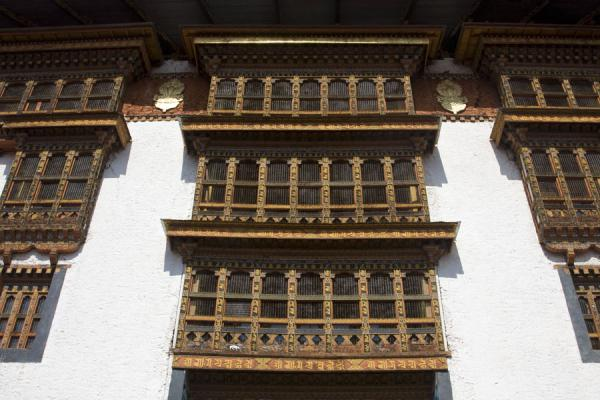 Typical wooden windows in Punakha Dzong | Punakha Dzong | Bhutan