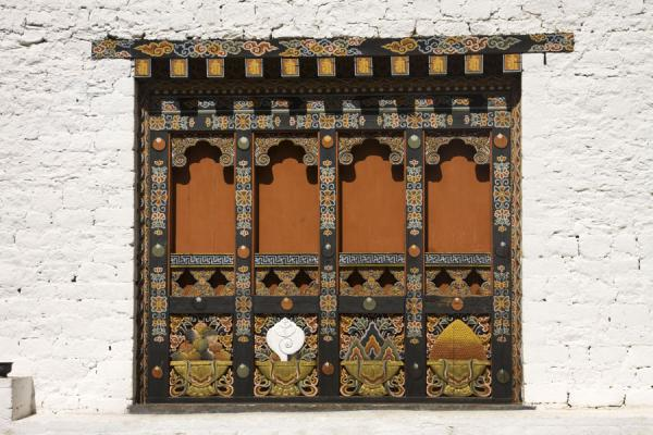 Traditional Bhutanese window in Punakha Dzong | Punakha Dzong | Bhutan