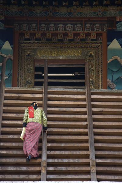 Bhutanese woman walking up the stairs to enter Punakha Dzong | Punakha Dzong | Bhutan