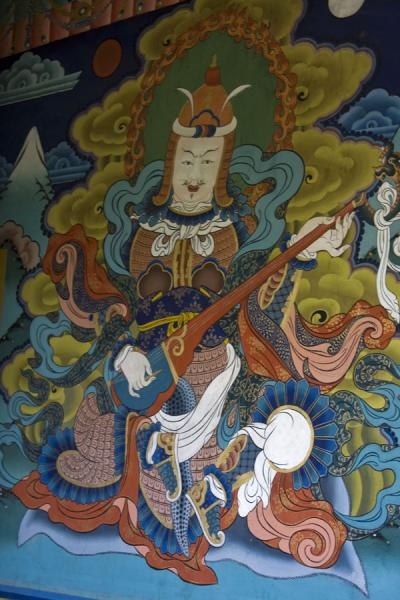 Guardian of the East depicted at the entrance of the temple | Punakha Dzong | Bhutan