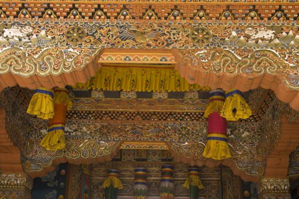 Heavily decorated ceiling of entrance to Tango Monastery | Tango Monastery | Bhutan