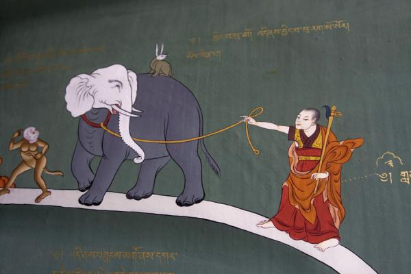 Detail of a religious scene depicted on a wall in Tango Monastery | Tango Monastery | Bhutan