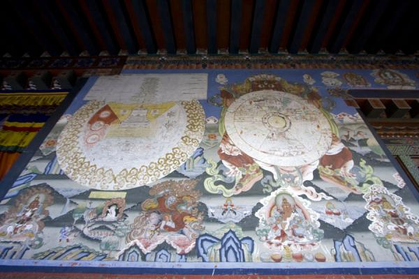 Foto de Wheel of life depicted on the wall of a temple in Thimphu DzongThimphu - Bután
