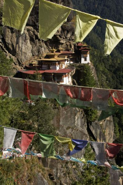 Picture of Prayer flags and Tiger Nest Monastery