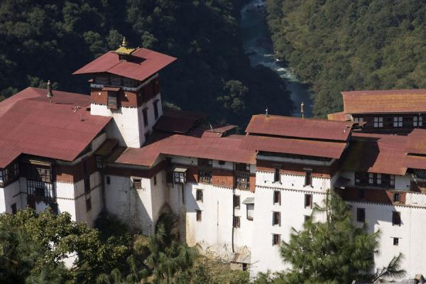 Trongsa Dzong seen from the Ta Dzong or watchtower - 不丹