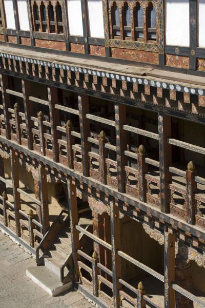 Wooden balconies at one of the main buildings of Trongsa Dzong | Trongsa Dzong | Bhutan