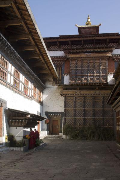 Picture of Trongsa Dzong (Bhutan): Courtyard of the religious area of Trongsa Dzong