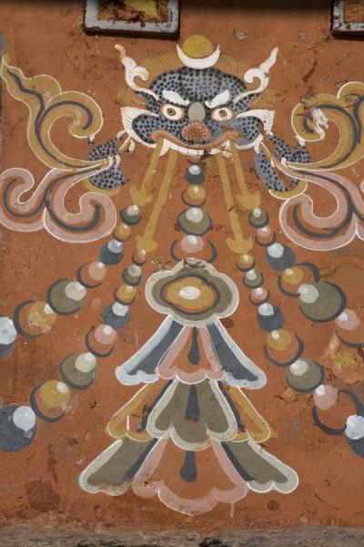 Picture of Trongsa Dzong (Bhutan): Detail of religious painting on a wall in Trongsa Dzong