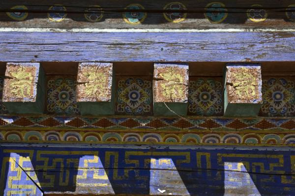 Close-up of decorated exterior of Ugyen Chholing Palace | Ugyen Chholing Palace | Bhutan