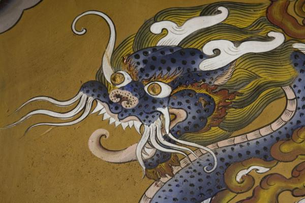 Close-up of wall painting of dragon | Ugyen Chholing Palace | Bhutan
