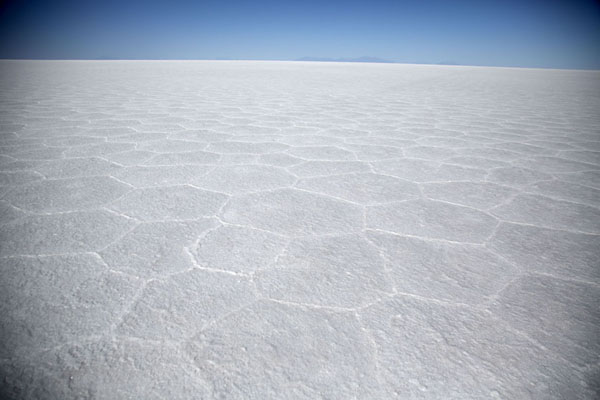Photo de The hexagonal pattern in the crust of the Salar de UyuniSalar de Uyuni - la Bolivie