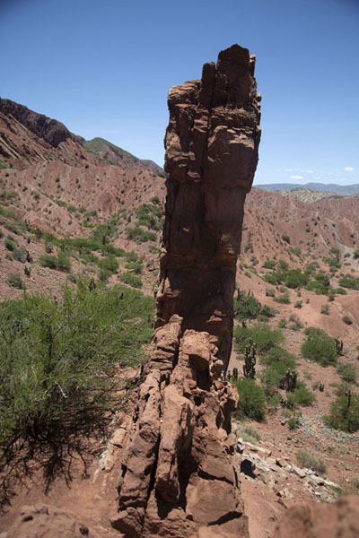 Picture of The Puerta del Diablo sticking out of the surrounding landscapeTupiza - Bolivia