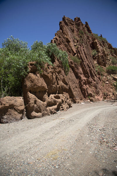 The slanted rock formation at the Puetra del Diablo, or Devil's Gate | Tupiza canyons | 破利维亚呢