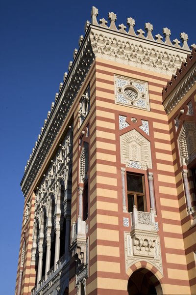 Looking up the imposing National Library building | Austro-Hungarian Sarajevo | Bosnia and Herzegovina