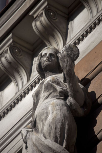 Picture of Female statue on a facade on a classical building on the Miljacka riverbank