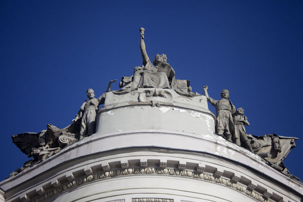 Statues on top of a classical building in downtown Sarajevo | Austro-Hungarian Sarajevo | Bosnia and Herzegovina