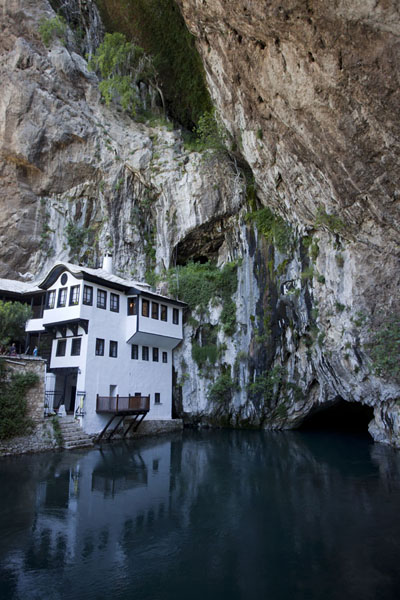 Picture of The river Buna emerges from the cave in which the tekke of Blagaj is built