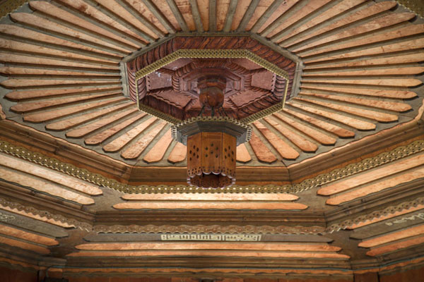 Picture of The fountain outside Gazi Husrev Bey mosque has a beautiful wooden ceiling