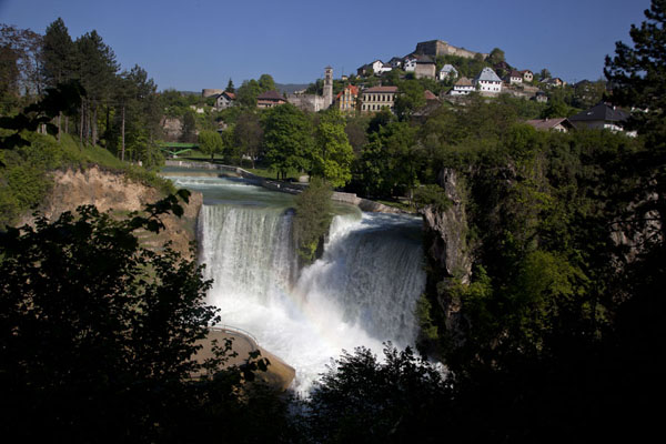 The waterfall of Jajce with the old town above | Jajce | Bosnia and Herzegovina