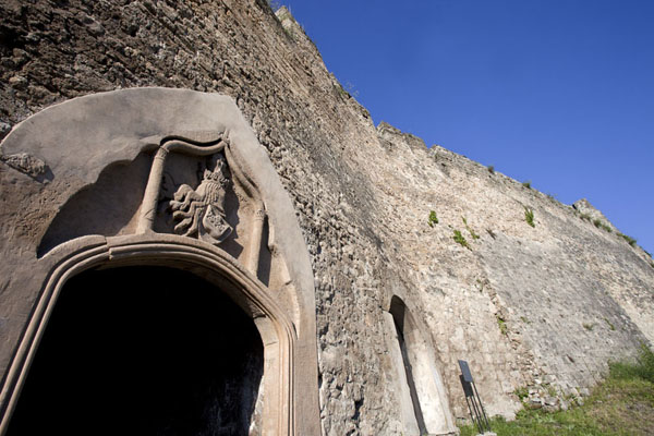 Looking up the wall and entrance of the fortress of Jajce | Jajce | Bosnia and Herzegovina