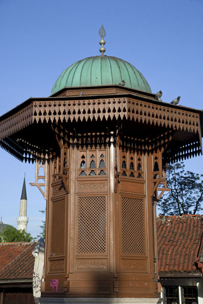 Picture of The Sebilj, the wooden fountain in the middle of Pigeon SquareSarajevo - Bosnia and Herzegovina