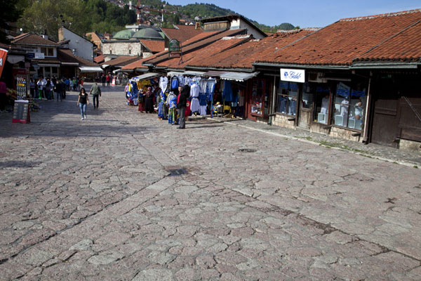 Looking down Pigeon Square with its many shops | Ottoman Sarajevo | Bosnia and Herzegovina