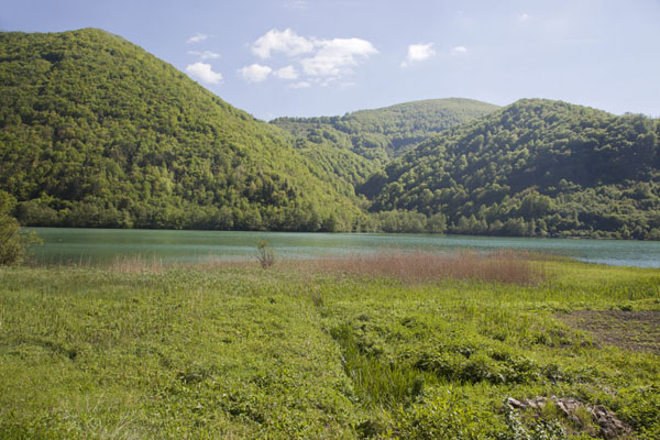 Picture of Tree-covered mountains on the other side of the large Pliva lake