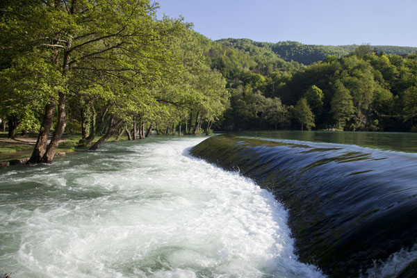 Cascade at the far end of the small Pliva Lake | Pliva Lakes | Bosnia and Herzegovina