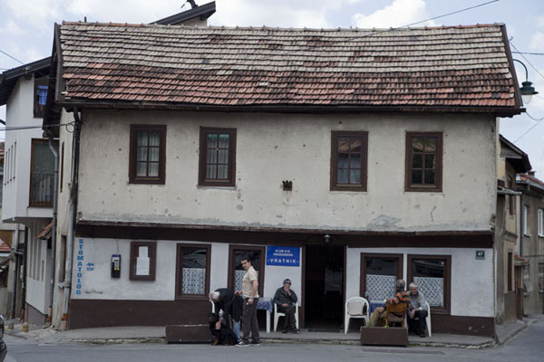 Building with bar and locals | Vratnik quarter | Bosnia and Herzegovina