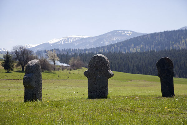 Picture of Stecci Rostovo (Bosnia and Herzegovina): Row of three stećci with mountains in the background