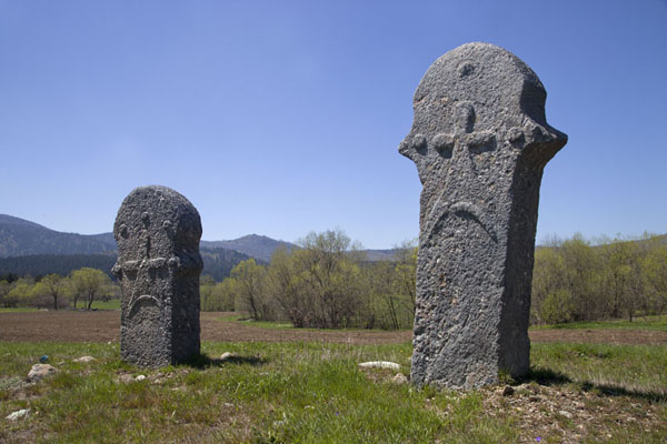 Two stećci with carved decorations near Rostovo | Stecci Rostovo | Bosnia and Herzegovina