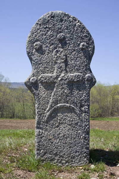 Picture of Stecci Rostovo (Bosnia and Herzegovina): One of the stećci with carved decoration at Rostovo