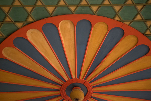 Picture of Bright colours used on the ceiling of the multi-coloured mosque