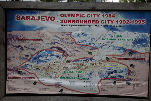 Board explaining the siege of Sarajevo and the importance of the Tunnel of Life | Tunnel of Life | la Bosnie-Herzégovine