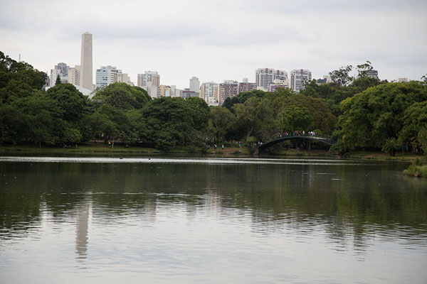 View across the lake with Obelisk, trees and part of the São Paulo skyline in the background | Parque Ibirapuera | Brazil