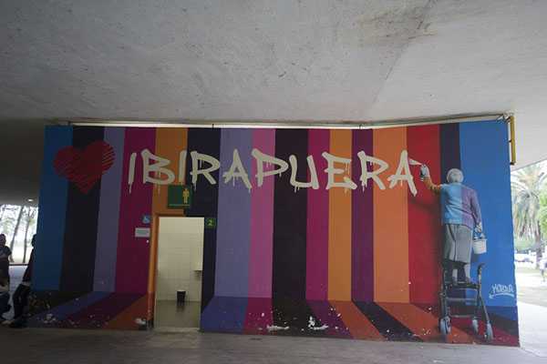 Picture of Graffiti adorning a bathroom in Ibirapuera - Brazil - Americas