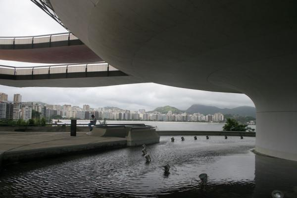 Skyline of Niteroi and sea seen from behind the MAC, Niteroi | MAC Niemeyer Museum | Brazil