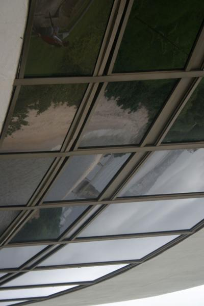 Reflection of panorama in the windows of the MAC, Niteroi | MAC Niemeyer Museum | Brazil