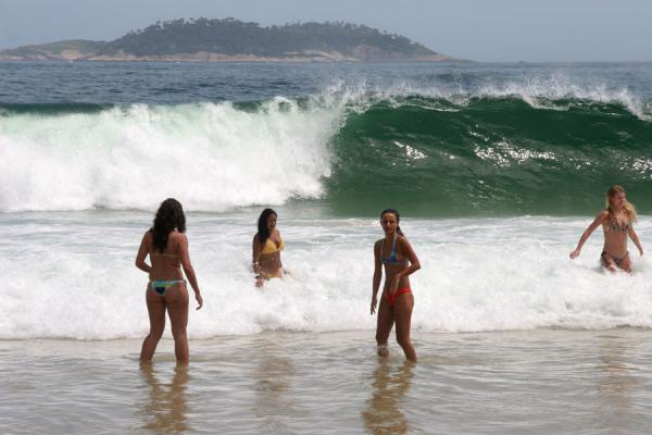 Girls waiting for a wave at Ipanema beach, Rio de Janeiro | Rio beach girls | Brazil