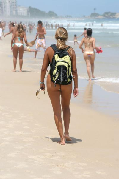 Girl walking Ipanema beach | Rio beach girls | Brazil