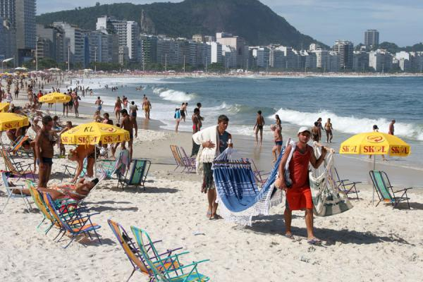 Selling hammocks on Copacabana beach | Rio beach life | Brazil